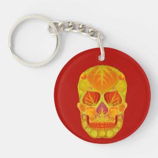 Aspen Leaf Skull 13 Keychain