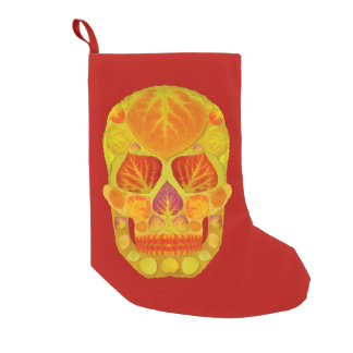 Aspen Leaf Skull 13 Small Christmas Stocking