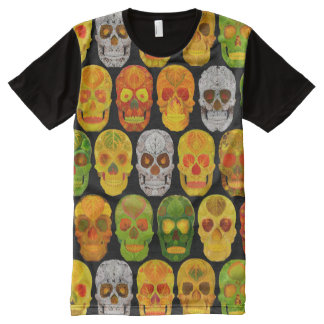Aspen Leaf Skulls seamless pattern 2018 All-Over-Print T-Shirt
