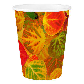 Aspen Leaves Collage Seamless Medley 1 Paper Cup