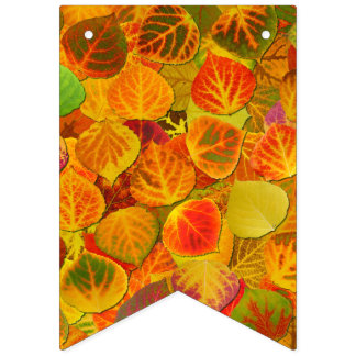 Aspen Leaves Collage Solid Medley 1 Bunting Flags