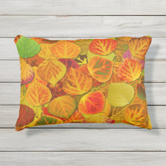 Aspen Leaves Collage Solid Medley 1 Outdoor Pillow