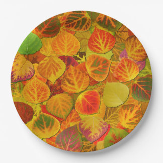 Aspen Leaves Collage Solid Medley 1 Paper Plate