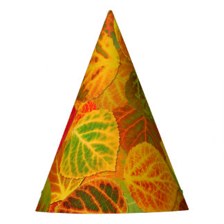 Aspen Leaves Collage Solid Medley 1 Party Hat
