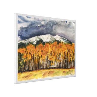 Aspen Mountains Watercolor Print Canvas 24x18