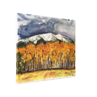 Aspen Mountains Watercolor Print Wrapped Canvas