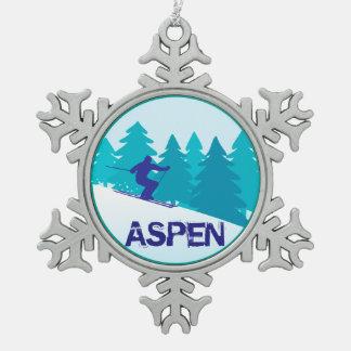 Aspen Ski Circle Pewter Snowflake Ornament