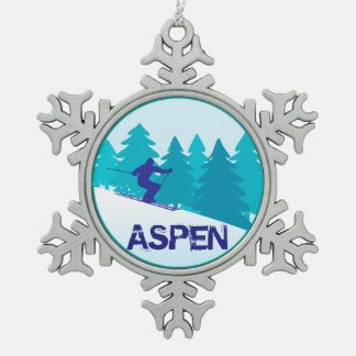 Aspen Ski Circle Snowflake Pewter Christmas Ornament