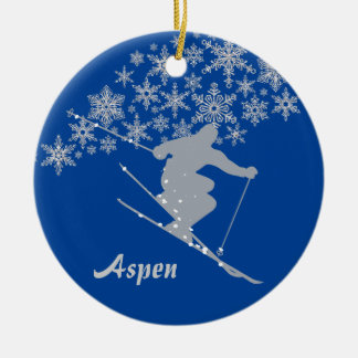 Aspen Snowflake Skier Personalized Ceramic Ornament