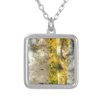 Aspen Trees in Autumn Silver Plated Necklace