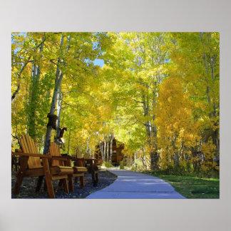 """Aspen Walkway"", Ground View, Autumn Poster"
