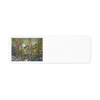 Aspens in Estes Oil Landscape Painting Return Address Label