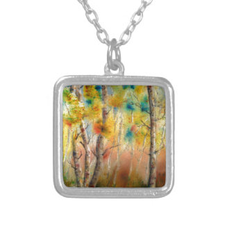 Aspens in Fall Silver Plated Necklace