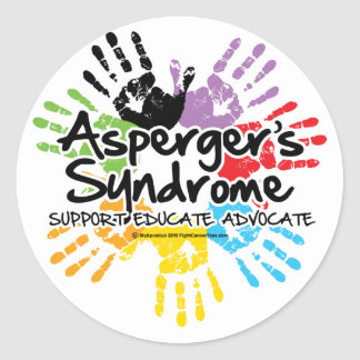 Asperger's Syndrome Handprint Round Sticker