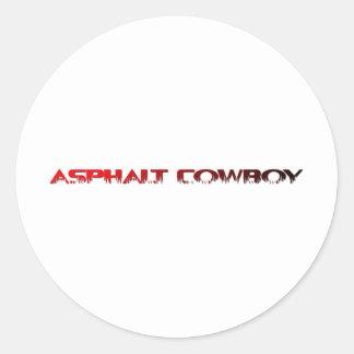 Asphalt Cowboy Red Name Line 1 Classic Round Sticker