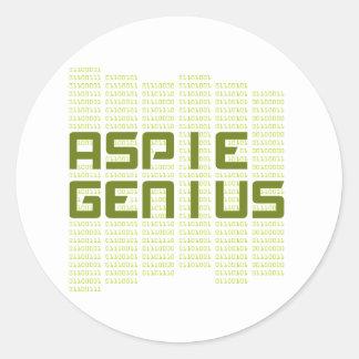 Aspie Genius - Computers Round Sticker