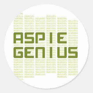 Aspie Genius - Computers Round Stickers