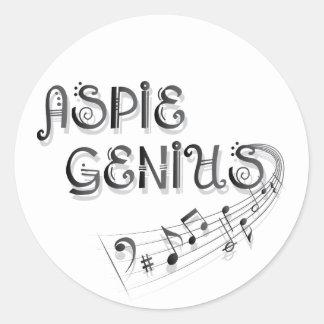 Aspie Genius - Music Round Sticker