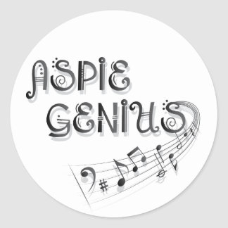 Aspie Genius - Music Round Stickers