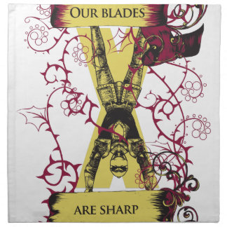 assassin our blades are sharp napkin