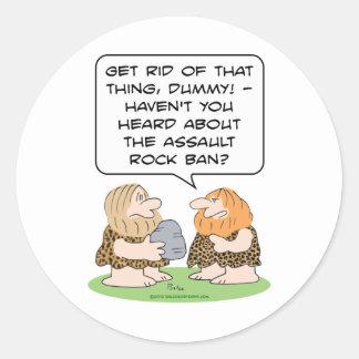 assault rock ban rifle caveman cavemen gun control classic round sticker