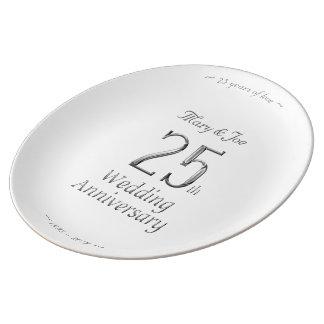 Assiette En Porcelaine 25ème Typographie argentée chic d'anniversaire de