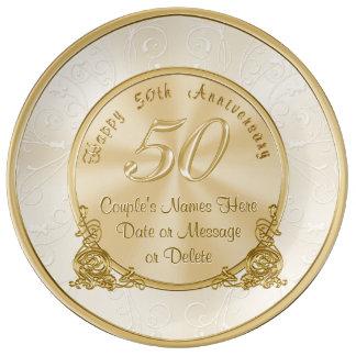 Assiette En Porcelaine Cinquantième cadeaux personnalisables