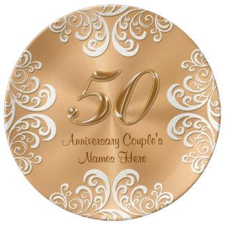 Assiette En Porcelaine Fine couche d'or personnalisée d'anniversaire de