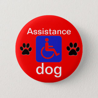 assistance dog disabled symbol with paws 2 inch round button