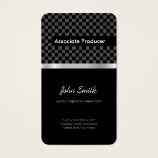 Associate Producer - Elegant Black Chessboard Business Card
