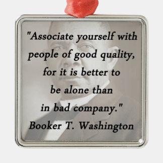 Associate Yourself - Booker T Washington Silver-Colored Square Ornament