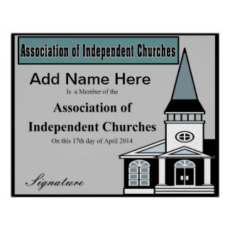 Association of Independent Churches Certificate Poster