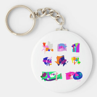 Assorted Abstracts Basic Round Button Keychain