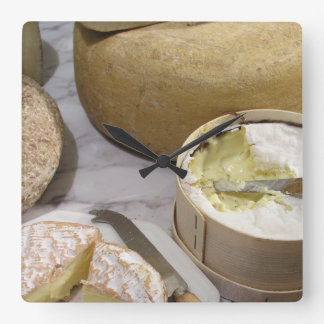 Assorted cheeses square wall clock