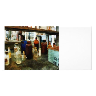 Assorted Chemicals in Bottles Photo Cards