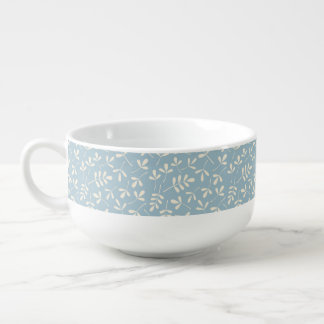 Assorted Cream Leaves on Blue Pattern Soup Bowl With Handle