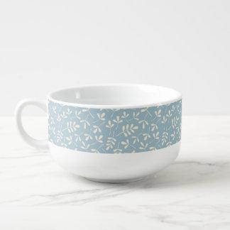 Assorted Cream Leaves on Blue Pattern Soup Mug