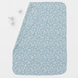 Assorted Cream Leaves on Blue Small Pattern Swaddle Blankets