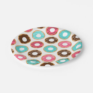 Assorted Donuts Pattern Paper Plate