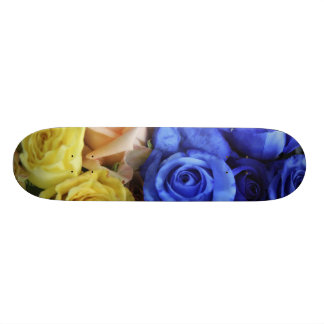 Assorted fresh rose bouquets skate boards