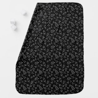 Assorted Gray Leaves on Black Sml Pattern Stroller Blanket