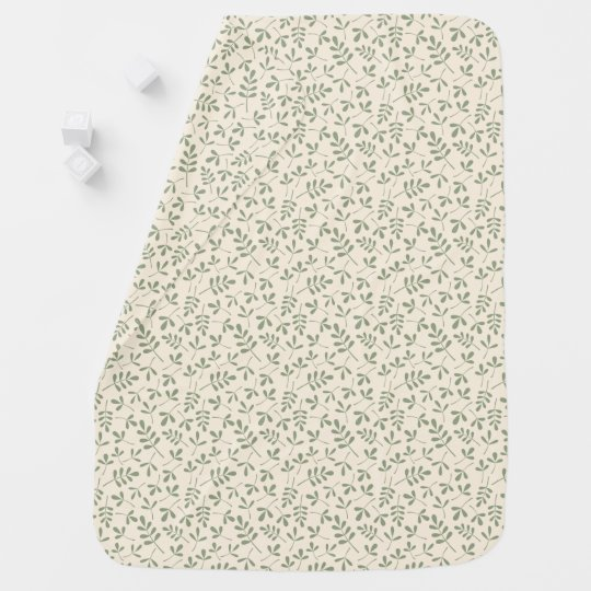 Assorted Green Leaves on Cream Small Pattern Baby Blanket