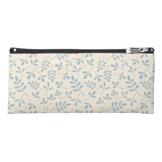 Assorted Leaves 2Way Ptn Blue & Cream Pencil Case