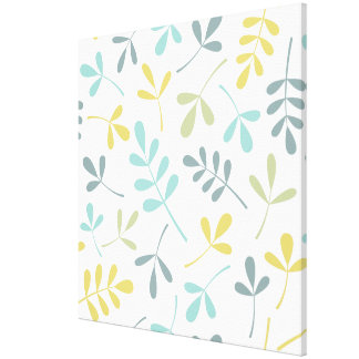 Assorted Leaves Big Pattern Color Mix on White Canvas Print