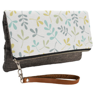 Assorted Leaves Big Pattern Color Mix on White Clutch