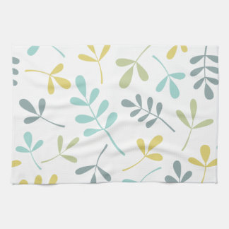 Assorted Leaves Big Pattern Color Mix on White Kitchen Towel
