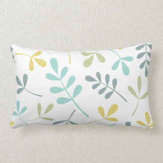 Assorted Leaves Big Pattern Color Mix on White Lumbar Pillow