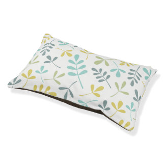Assorted Leaves Big Pattern Color Mix on White Pet Bed