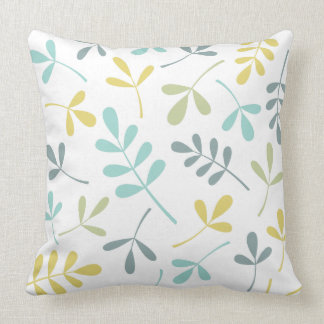 Assorted Leaves Big Pattern Color Mix on White Throw Pillow