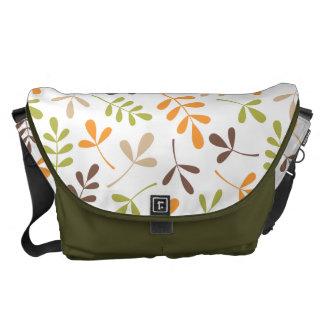 Assorted Leaves Big Ptn Brwn Orange Grn Sand White Commuter Bag